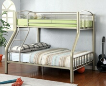 Lovia collection metallic gold finish twin over full bunk bed set with clean straight lines design