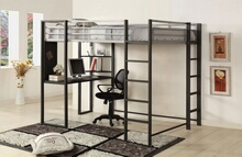 CM-BK1098F Hokku designs roc sherman silver and gun metal finish metal frame full size loft bunk bed with desk