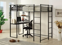 Sherman silver and gun metal finish metal frame twin size loft  bunk bed with desk are with shelves underneath