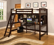 Hayden i dark walnut finish twin bed over loft with built in workstation chair with front access angled ladder.