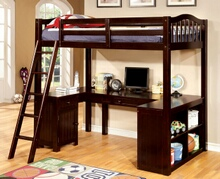 Dutton collection dark walnut finish wood twin bunk bed with lower workstation u shaped desk underneath