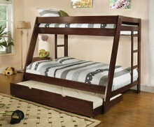 Furniture of america CM-BK358EXP Arizona light espresso wood finish twin over full bunk bed