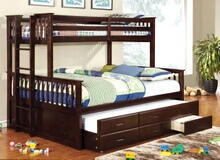 Furniture of america CM-BK458Q-CTR-EXP University collection espresso finish wood twin over queen mission style bunk bed set with twin trundle and drawers
