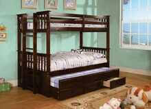 University collection espresso finish wood twin over twin mission style bunk bed set with twin trundle and drawers