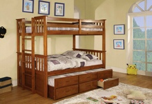 CM-BK458T-CTR-OAK University oak finish wood twin over twin mission style bunk bed set with twin trundle and drawers