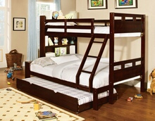 Fairfield dark walnut finish wood twin over full bunk bed with bookcase and storage in headboard