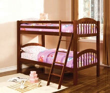 Coney island iii oak wood finish twin over twin  bunk bed  with front access angled ladder