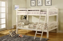 CM-BK524W-1 Coney island iii white wood finish twin over twin  bunk bed  with front access angled ladder