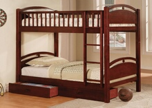 CM-BK600CH California i cherry wood finish mission style twin over twin bunk bed with front access ladder