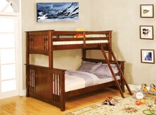 Spring creek i dark oak finish twin over full bunk bed with front access angled ladder