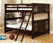 Furniture of america CM-BK603EXP Miami i espresso finish full over full bunk bed with front access angled ladder