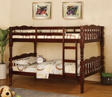 Furniture of america CM-BK606CH Catalina ii cherry wood finish country style twin over twin bunk bed with a fixed front access ladder
