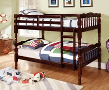 Furniture of america CM-BK606EX Catalina ii expresso wood finish country style twin over twin bunk bed with a fixed front access ladder