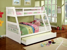 Furniture of america CM-BK607WH Canberra ii white finish twin over full bunk bed with front angled ladder