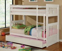 Canberra ii white finish twin over twin bunk bed with front ladder