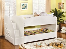 Merritt white finish wood twin over twin short style bunk bed with pull out trundle bed on bottom with stairs