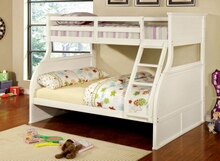 CM-BK923 Canova white finish wood twin over full panel style bunk bed set with curved design