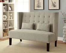 Amora collection mid-century style high back wing chair love seat with beige fabric upholstery with tufted back