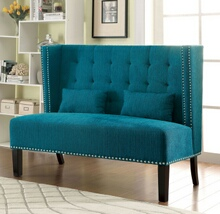 Amora collection mid-century style high back wing chair love seat with teal fabric upholstery with tufted back