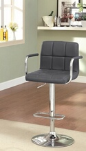 Corfu collection contemporary style gray leather like vinyl adjustable swivel bar stool with tufted backrest