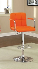 CM-BR6917-OR Corfu contemporary style orange leather like vinyl adjustable swivel bar stool with tufted backrest