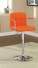 Corfu collection contemporary style orange leather like vinyl adjustable swivel bar stool with tufted backrest