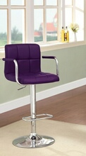 Corfu collection contemporary style purple leather like vinyl adjustable swivel bar stool with tufted backrest