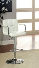 Corfu collection contemporary style white leather like vinyl adjustable swivel bar stool with tufted backrest