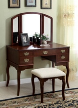Furniture of america CM-DK6405CH 3 pc ashland chippendale style cherry finish wood bedroom make up vanity sitting table set with tri fold mirror