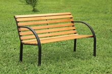 CM-OB1805 Dumas cast iron arms and slatted natural oak finish wood park bench