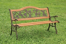 Alba collection wood and cast iron park bench with floral and bird details on the back