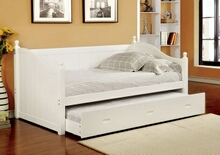 Furniture of america CM1928WH Roberta i cottage style daybed with twin trundle in white wood finish