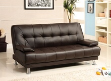 Beaumont contemporary dark brown finish leatherette futon sofa bed