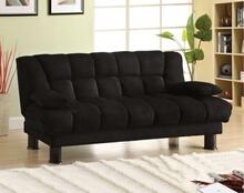 "Bonifa black finish contemporary style ""elephant skin"" microfiber futon sofa bed"