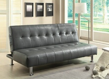 Bulle collection gray leatherette upholstered tufted top futon folding sofa bed with side pockets and chrome legs