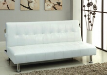 Bulle collection white leatherette upholstered tufted top futon folding sofa bed with side pockets and chrome legs