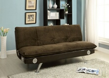 Furniture of america CM2675BR Gallagher collection contemporary style brown champion fabric upholstered futon sofa bed with chrome legs and bluetooth speaker system