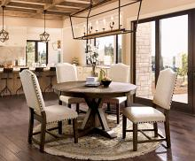 """CM3014RT-5PC 5 pc One allium way lowell julia rustic natural tone finish 54"""" round dining table set"""