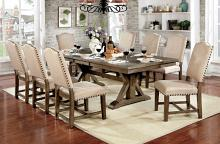 CM3014T-7PC 7 pc Julia rustic natural tone finish trestle base dining table set