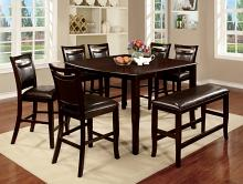 CM3024PT-6PC 6 pc Red barrel studio woodside espresso finish wood counter height dining table set with bench