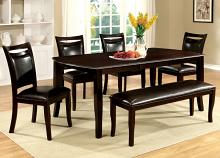 CM3024T-6PC 6 pc woodside dark cherry wood finish dining table set with bench