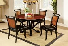 "Furniture of america CM3034RT-5PC 5 pc salida ii 48"" round acacia and black finish wood dining table set."