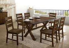 CM3114T-3604-7PC 7 pc Gracie oaks vecinas woodworth walnut finish wood natural edge dining table set