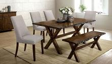 CM3114T-BN-6PC 6 pc Gracie oaks vecinas woodworth walnut finish wood natural edge dining table and bench set