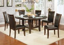 "CM3152RT-7PC 7 pc Millwood pines mahle meagan II rustic plank brown cherry finish wood 65"" round drop leaf dining table set"