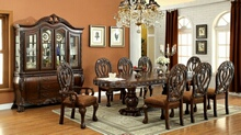 7 pc wyndmere traditional style cherry finish wood elegant formal style double pedestal dining table set with intricate designs