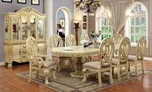 Furniture of america CM3186WH 7 pc wyndmere traditional style antique white finish wood elegant formal style double pedestal dining table set with intricate designs