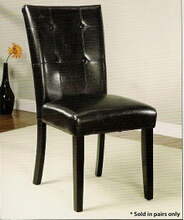 Set of 2 atlas iii side chair leatherette back and seat with a black wood finish legs