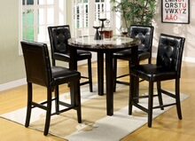 5 pc. atlas iv contemporary style black finish wood counter height set with a round dark gray & white faux marble table top set