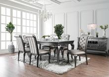 CM3219GY-T-7PC 7 pc amina gray finish wood dining table set with glass insert top